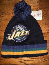 Mitchell and Ness NBA Utah Jazz Striped Pompon Winter Hat