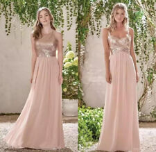 Blush Pink Rose Gold Long Sequins Bridesmaid Dress Cheap Formal Party Gown