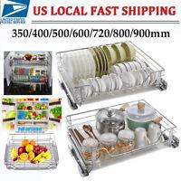 Kitchen Cabinet Pull-Out Chrome Wire Basket Pantry Organizer Storage Rack Holder