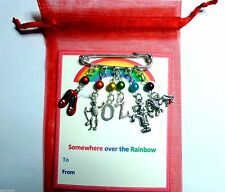 Dorothy Wizard of OZ Charm Pin Brooch Slippers Tin Man Lion Scarcrow Gift Card