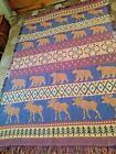 "Vintage Rustic Woven Cotton Tapestry ""Bear-Moose-Tree- Leaf motifs"
