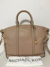NWT MICHAEL Michael Kors Beckett Large Top-Zip Satchel Handbag Oyster $328