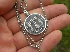Agorot  Israel coin painted. Jewish man necklace Menorah nice gift for  Hanukkah