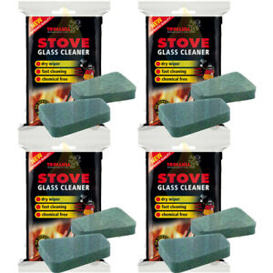 Stove Glass Cleaning Trollull Cleaner Pads Non Scratch Pack For Woodburning 4 Pk