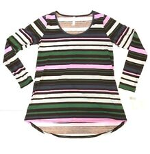 LuLaRoe Lynnae Long Sleeve Shirt Green Blue Black Lavender Stripes Small S