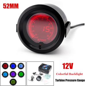 52MM Racing Car Turbine Pressure Gauge Kit LCD Digital w/Seven Colors Backlight