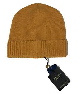 Charter Club Luxury 100% Cashmere Cuffed knit Beanie Hat - Mustard