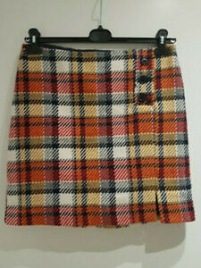 BNWT Next Women Mini Check Wool Contains Skirt Size UK 12 tagged £28 (A40)