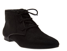 LOGO by Lori Goldstein Flat Lace-Up Ankle Boots Booties Black Pony Hair 8 New