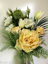 SILK FLOWER ARRANGEMENT ARTIFICIAL PEONY ROSES TULIPS CREAM DIY FLORAL FLOWERS
