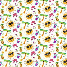 Printed Bow Fabric A4 Canvas Summer Palm Drink Pineapples SM3 Make glitter bows