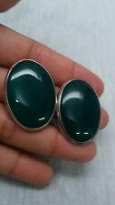 Statement artisan studio  sterling 925  oval green stone clip on earrings