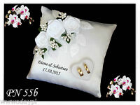 ~ Personalised wedding ring cushion pillow with rings holder box NAMES CUSTOM ~