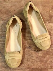 """"""" SIREN """" 6 - mustard suede moccasins / slip on shoes - elastic back - BARGAIN"""