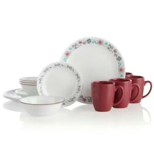 Corelle Glass Nordic Bloom 16-Piece Dinnerware Set Service for 4 / FREE SHIPPING