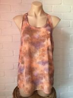 Supre Orange & Purple Watercolour Sheer Chiffon Racer Back Singlet Cami Top Sz S