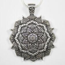 Collana OM Mandala Ciondolo Argento Catena Buddha guarigione Fiore di Loto Buddista