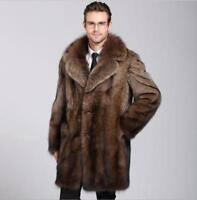 Thicken Mens Vintage Mink Fur Warm Winter Coat Jacket Luxury Lapel Parka Outwear