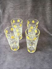 Vintage Raleigh Tavern Williamsburg, Va Drinking Glasses Set Of 4 Yellow Crest