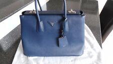 Prada Saffiano cuir TWIN Tote Shopper Cobalto 100% AUTENTICO