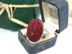 GORGEOUS VINTAGE MODERNIST SOLID STERLING SILVER RED FOIL OPAL RING SIZE S 9