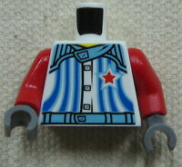 LEGO NEW BLUE AND RED MINIFIGURE TORSO WITH BLUISH GREY HANDS AND STAR PATTERN