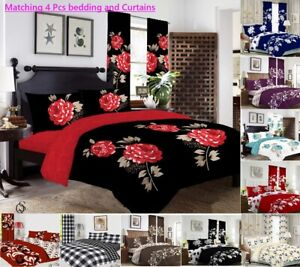 MATCHING 4 pieces BEDDING SET CURTAINS Duvet Cover Fitted Sheet Pillowcase