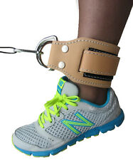 Gym Ankle Strap natural leather INFINITY Single multi gym machine attachment