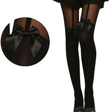 Vintage Tights Women Bow Pantyhose Tattoo Mock Bow Suspender Sheer Stockings New
