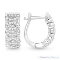 925 Sterling Silver Rhodium Cubic Zirconia CZ Crystal Micro-Pave Huggie Earrings