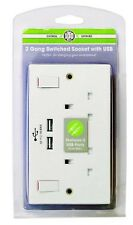2 GANG DOUBLE WALL SOCKET WITH 2 USB PORT SWITCHED ELECTRIC 5V--2.1A max