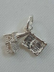 925 Solid Sterling Silver Vintage Church Bible Charm Pendant
