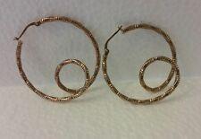 NWOT Dyadema Mia Fiore Italy .925 Rose Gold Sterling Silver Wire Hoops Earrings