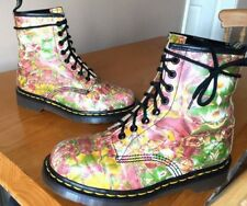 Vintage Dr Martens 1460 green white pink yellow floral boots UK 4 EU 37 England