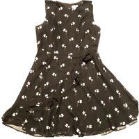 Maison Jules Floral Ruffle Dress Sheer Overlay Women's 12