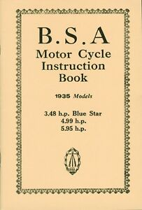 BSA Blue Star Manual Instruction Book 1935 OHV 3.48 4.99 5.95 hp Motorcycles