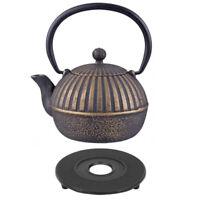D.line Teaology Cast Iron Tea Pot 500ml Imperial Stripe Black/Gold BONUS TRIVET!