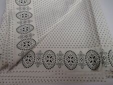 Chaps French Riviera Ivory Black Dots Floral Flat Sheet - Queen