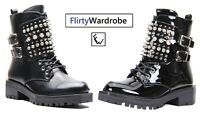 Studded Combat Biker Boots Chunky Sole Punk Goth Low Heeled Lace Up Shoes Womens