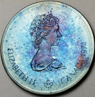 """1974 CANADA SILVER 10 DOLLARS """"1976 MONTREAL OLYMPIC GAMES"""" COLOR TONED COIN"""