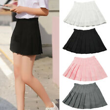 Fashion Women Summer Solid Color High Waist Pleated A-Line Mini Tennis Skirt New