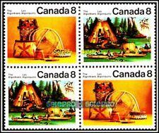 CANADA 1973 CANADIAN INDIANS ALGONKIANS MINT FV FACE 32 CENT MNH STAMP SET BLOCK
