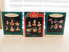 Lot of 3 Boxes / 18 Hallmark Miniature Ornaments Sew Sew Tiny Green Thumbs .