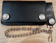 """Black leather 6 """" Biker / Trucker wallet 12"""" chain. Snap belt loop. Buffalo"""