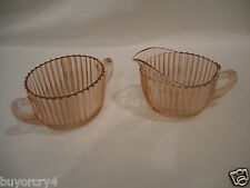 *VTG* ANCHOR HOCKING PINK RIBBED DEPRESSION GLASS CREAM & SUGAR BOWL-QUEEN MARY