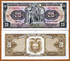 Ecuador, 20 Sucres, 1988, P-121A, UNC > Pre-USD$