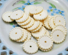 #969 Vintage Lucite Beads DISC SPACER Hobnail Round Cream Ivory Color 18mm NOS