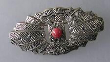 Art Deco Brosche Korallen-Perle mit Markasiten (31241)