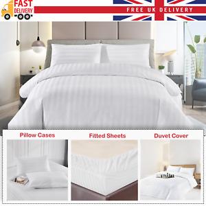 Luxury Hotel Quality 100% Cotton Satin Strip Duvet Cover Set White Bedding Set
