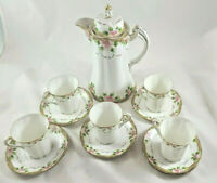 Antique Nippon Chocolate Tea Pot Set Pink Floral Gold With 5 Cups/Saucers